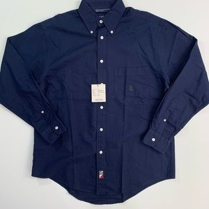 Nautica M navy button down dress shirt men's